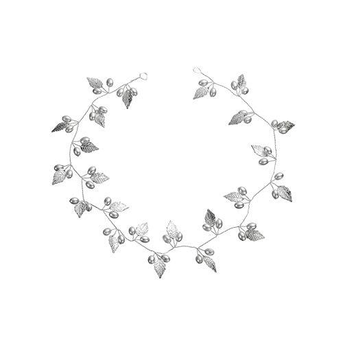 Asien Plata Elegante De La Boda De Novia Dama De Diadema Plateada Tocados De Horquilla con Diseño De Hoja De La Perla Accesorios Pelo Mujeres (Plata)