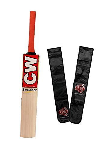 CW Smasher Kashmir Willow Cricket Bat Tennis Ball Play Hard Tennis Play Cricket Bat Size 4, 5, 6 (4 for 7-9 Yr Old)