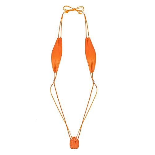 ranrann Micro String Sexy Mini Bikini Body String Sling Shot Monokini Thong Bandage Lingerie Erotique Tankini Plage Natation Piscine Maillot de Bain Y String Tanga Triangle Orange Taille Unique