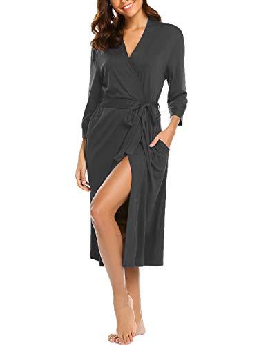 Lalala Damen Morgenmantel Stillnachthemd Umstandskleid Umstands Nachthemd mit Stillfunktion (Dark Gray L)