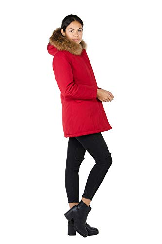 Alura Fashion Damen Echtpelz Winterjacke Parka Pelzkragen Jacke (Rot, 40)