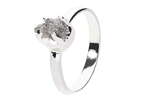 Anillo de Cristal 1001 (tamaño 57) de 18 mm de diámetro Interior de Plata de Ley 925 rodiada con Diamante Gris en Bruto.