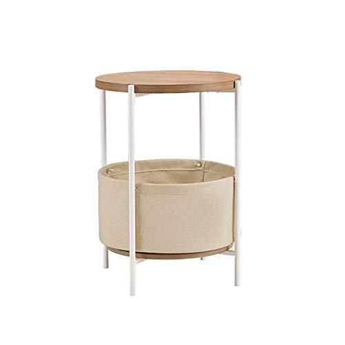 JCNFA BIJZETTAFEL Round Storage Basket, Side Bijzettafeltje/Nachtkastje, Met Stof Opslagruimte, 2 Kleuren (Color : White, Size : 17.95 * 17.95 * 23.62in)