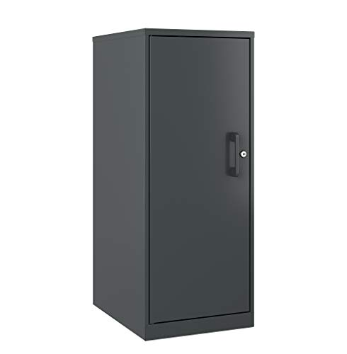 Office Dimensions 3 Shelf Personal Storage Cabinet, Locking, Charcoal