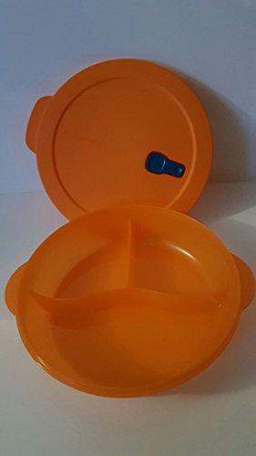 Tupperware Mikrowelle Mikro-Fix 2000ml orange XXL Teller mit Abteilung abgeteilt Schüssel mit Deckel Premeal Gefriertruhe Büro