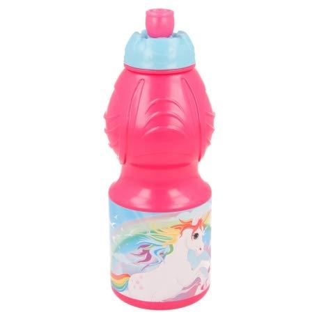 Borraccia Sport in plastica Bottiglia per Bambini 400ML con beccuccio retraibile (Unicorno)