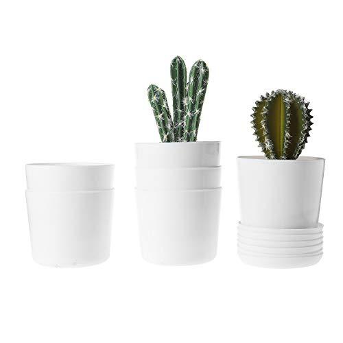 T4U Kunststof Pot Wit, Hars Planter Tuinplant Container met Schotel Indoor Outdoor Gebruik voor Orchidee Kruid Bloem Succulente Cactus Thuiskantoor Balkon Decoratie Verjaardag Bruiloft