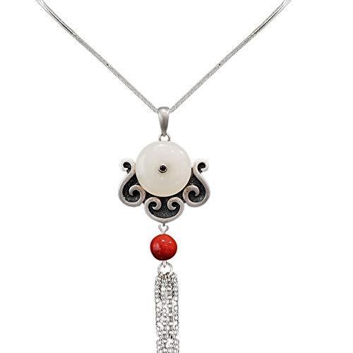 Anhänger Halskette 925 Silber Damen mit Jade - Chinesischer Vintage Schmuck 100% Handarbeit aus Hotan mit Echtheitszertifikat 102-LT101V2-60cm