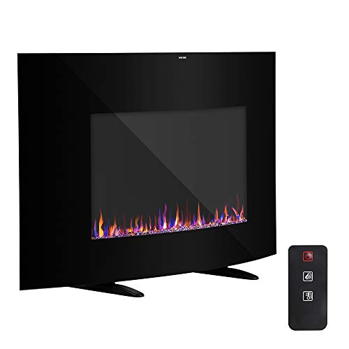 Electric Fireplace Heater 35 Adjustable 1400W Cambrio Wall Hanging with Remote Controller