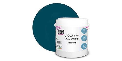 Peinture acrylique aspect velours Aqua déco - Murale - 44 couleurs - 2,5 L - 25 m² (Bleu Canard)