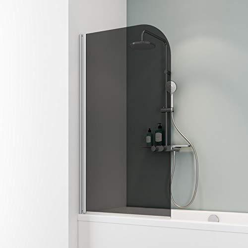 Schulte D1650 Duschwand Komfort, 80 x 140 cm, 5 mm Sicherheitsglas grau anthrazit, alu natur, Duschabtrennung für Badewanne
