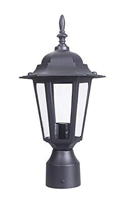 LIT-PaTH Outdoor Post Light Pole Lantern Lighting Fixture with One E26 Base Max 60W, Aluminum Housing Plus Glass, Matte Black Finish