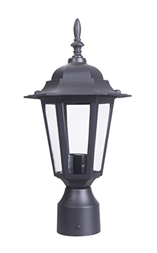 LIT-PaTH Outdoor Post Light Pole Lantern Lighting Fixture with One E26 Base Max 60W, Aluminum Housing Plus Glass, Matte Black Finish (Black)