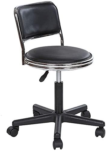 JYHZ Taburetes, Altura Ajustable de 360 Grados Rotación giratoria Suave cómoda PU Comedor de Cuero Sala de Estar Toolols (Color: Negro) (Color : Black)