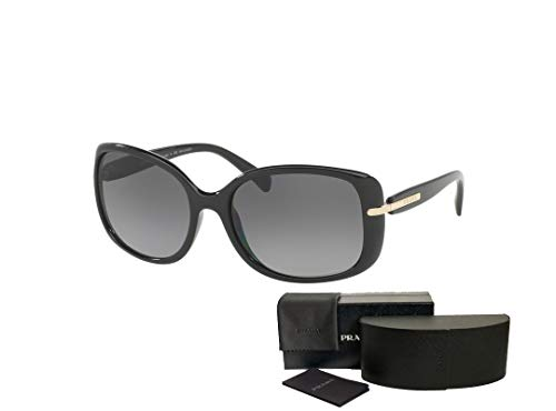 Prada PR08OS CONCEPTUAL 1AB5W1 57M Black/Grey Gradient Polarized Rectangle Sunglasses For Women+FREE Complimentary Eyewear Care Kit