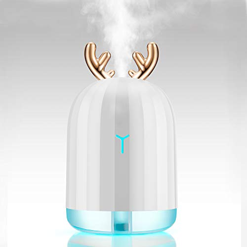 Moojay Mini Antlers Humidificador Ultrasonic Cool Mist 220ml | Portátil y silencioso con luz LED de respiración Colorida | Humidificador de Aire USB para Oficina y Coche