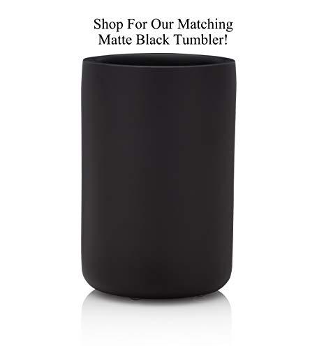 EssentraHome Matte Black Toothbrush Holder for Vanity Countertops