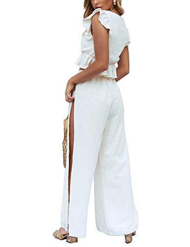 FANCYINN 2 Piezas Mujer Conjunto Fiesta Playa Verano Pantalon y Top Mono Blanco