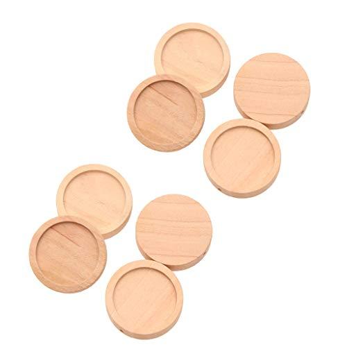 yotijar 100 bandejas redondas de madera con marco de madera para cabujón redondo de 25 mm.
