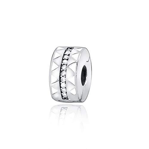 Pandora 925 joyas de plata esterlina abalorios brillanteslíneas irregulares encantos de Clip seajustan apulseras originales joyería femenina