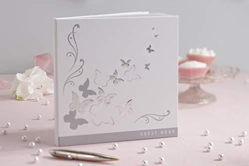 Ginger Ray Argent & Butterfly Blanc de Mariage Livre d'invités X 32 Pages Vierges