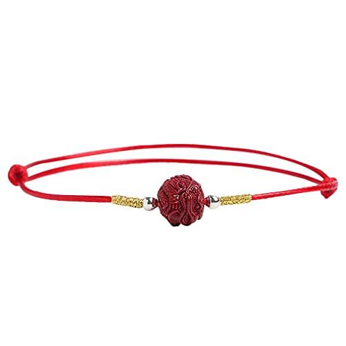 N/A Tobillera de Pulsera de Cuerda roja cinabrio Original para Hombres y Mujeres Cuerda de pie Fina Tejida a Mano joyería de año espontáneo atmósfera Simple