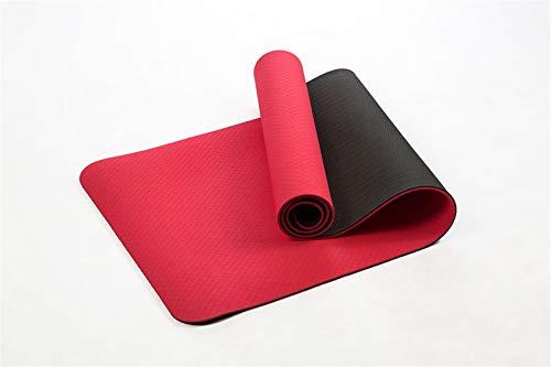 SDFDS Anti-Rutsch-TPE-Yoga-Matte, 183 * 61cm 6mm Dicke zweifarbige hochwertige Fitness-Übungsmatte for zu Hause Fitness und geschmacklose Matte 114 (Color : Red)