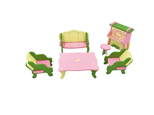 Twenis 1/12 Dollhouse Furniture Set of 6 Living Room Accessories with Piano in Wood, Pretend Play, Nontoxic Paint, Smooth Edges