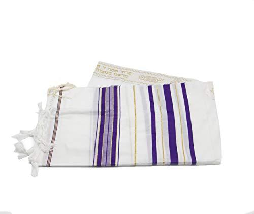 Tallit Gebetsschal, Acryl, Violett/Weiß, Größe 30, 178 x 60 cm