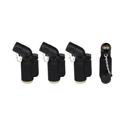 Coney Feuerzeug / Bunsenbrenner, Gasfeuerzeug, zwei Flammen, abgewinkelter Hals, winddicht, elektronisch, nachfüllbar, Jet-Flamme, Schwarz