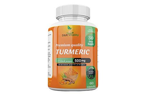 Turmeric Capsules High Strength with Black Pepper 500 mg 60 Capsules