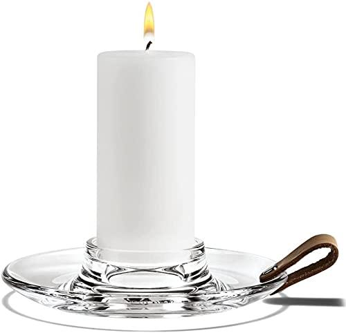 Holmegaard Design Kerzenlicht Kerzenhalter aus Glas, Kerzenständer mit einem Lederband für Stabkerzen, 17cm