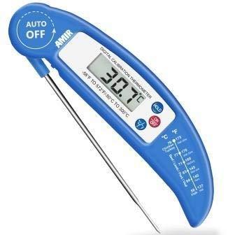 NERB AMIR numérique BBQ Thermomètre pliable Alimentation électronique cuisson de la viande Sonde lait eau Cuisine Four Outils Thermomètre (Color : Blue)