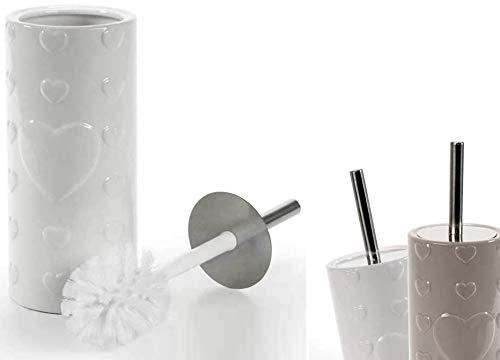 GICOS IMPORT EXPORT SRL Piantana portascopino scopino WC in Ceramica Decoro Cuori 34 cm 2 Colori Bianco e Tortora PAM-783210