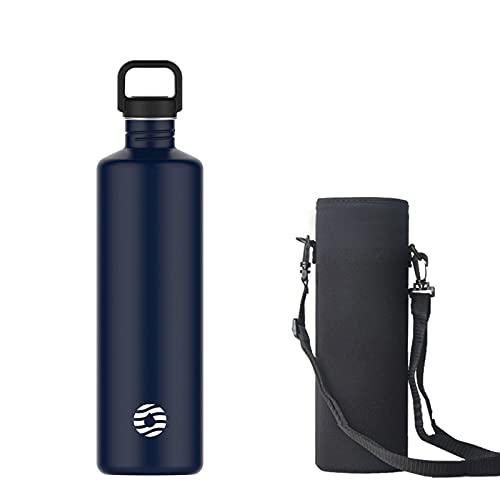 Botella de agua de acero inoxidable de 2 l, botella de una sola pared de 2 litros, azul oscuro