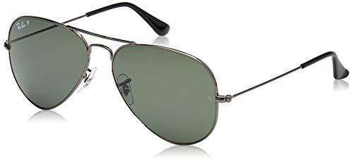 Ray-Ban RB3025 Classic Aviator Sunglasses, Gunmetal/Green Polarized, 62 mm