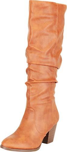 Cambridge Select Damen Western-Stiefel, mandelförmiger Zehenbereich, klobiger Blockabsatz, kniehoch, Braun (Rost Pu), 36 EU