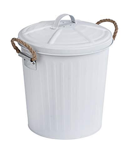 WENKO Poubelle Salle de Bain design, petite poubelle 6L, Gara blanc, 24x28,5x23 cm