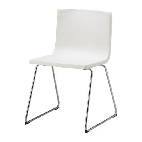 IKEA BERNHARD Stuhl, Chrom / Leder, WEIß