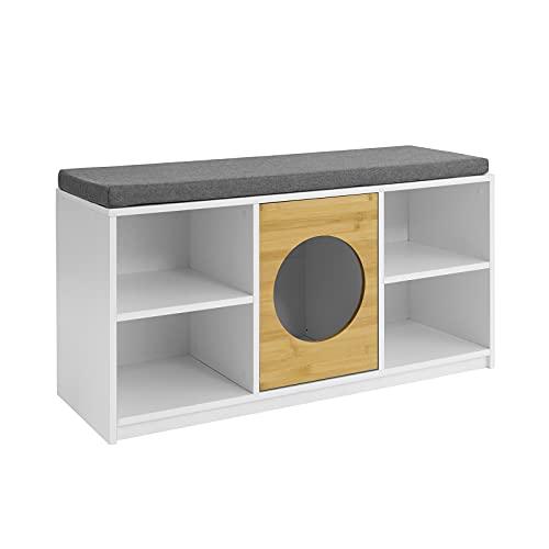 SoBuy FSR91-W Baúl para Juguetes con 5 Compartimentos, baúl para niños, Banco para Zapatos con casita para Gatos Zapatero con Cojín 100 x 35 x 53 cm ES