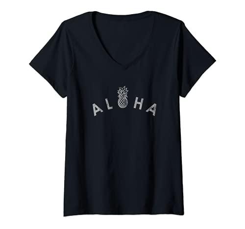 Mujer Aloha Piña Estilo Vintage Camiseta Cuello V