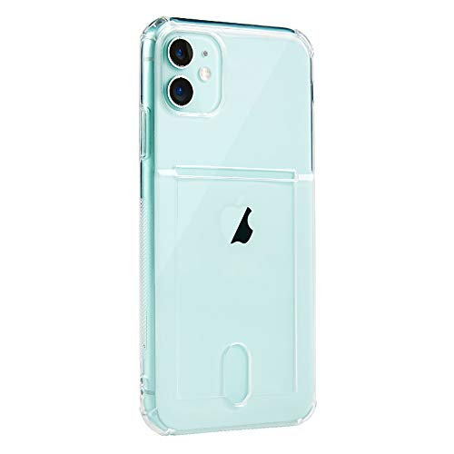 SZINTU for iPhone 12/12 Pro 6.1' Clear Case with Card Holder Slot [Slim Fit][Wireless Charger Compatible] Protective Soft TPU Shockproof Flexible Bumper Wallet Case for iPhone 12/12 Pro 6.1'(Clear)