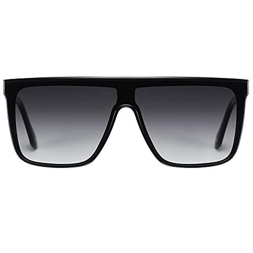 H HELMUT JUST Gafas de Sol Cuadrado Hombre Mujer Grande Rectangulares Montura Ligero de TR90 Lente de Nailon Superior Plana Una Pieza
