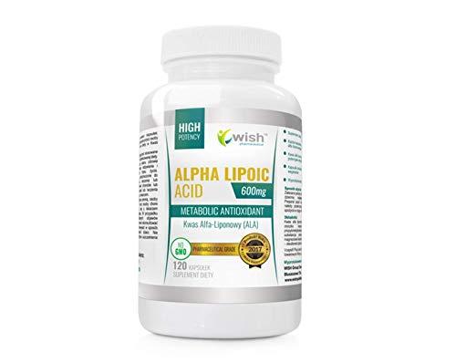Wish Pharmaceutical Alpha Lipoic Acid 600mg Confezione da 1 x 120 Capsule - Acido Alfa Lipoico - ALA - Antiossidante - Non OGM - Vegano