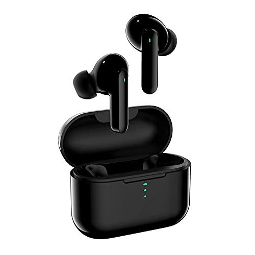 QCY Cuffie Bluetooth con 4 Mics Cancellazione del rumore, Bassi Potenziati Auricolari Bluetooth 5.0 Senza Fili, Waterproof Cuffie Wireless Controllo Touch, USB-C Ricarica per Android iOS Smartphone PC