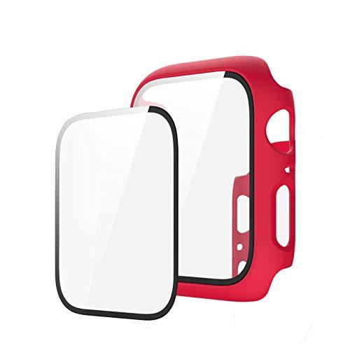 Funda compatible con Apple Watch Series 6/5/4/SE 40 mm 44 mm funda con protector de pantalla de PET + protector de pantalla de vidrio templado iWatch Cover Case (44 mm), color rojo