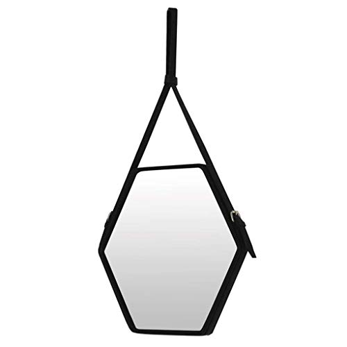SGSG Espejo de vanidad cosmético Espejo de Estilo nórdico Espejo de vanidad Espejo Decorativo Hexagonal Espejo Colgante de Pared de Cuero Espejo de Maquillaje Iluminado con Trompeta