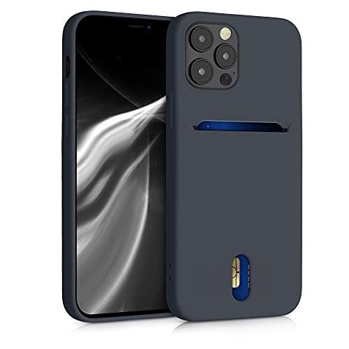 kwmobile Funda Compatible con Apple iPhone 12/12 Pro - Carcasa de Silicona con Tarjetero y Acabado de Goma - Azul turquí