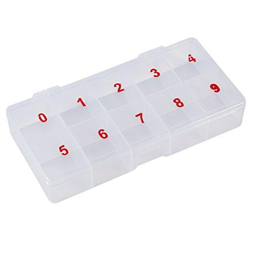 10 Cellules Compartiments Acrylique Boîte De Rangement En Plastique Translucide Naturel Faux Ongles Art Conseils Boîte