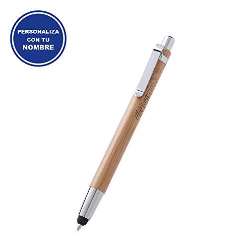Elegante Bolígrafo para Regalar PERSONALIZADO • Boligrafos Bonitos con cuerpo de Bambú Natural y Puntero para Dispositivos Móviles • Boligrafos para Regalar Economicos y Originales